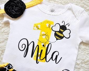 Bumble Bee Birthday Shirt Birthday 1st Birthday Outfit Girls Birthday set Birthday Outfit, Bee lady bug Birthday shirt, fabric tutu
