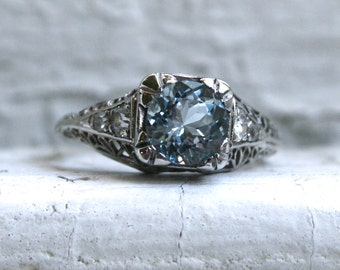 RESERVED - Beautiful Vintage Platinum Aquamarine and Diamond Filigree Ring -1.24ct.