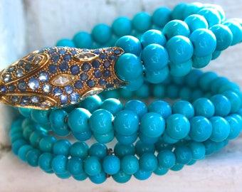 Turquoise, Sapphire, and Diamond Vintage 18K Yellow Gold Snake Flexible Bangle Bracelet.