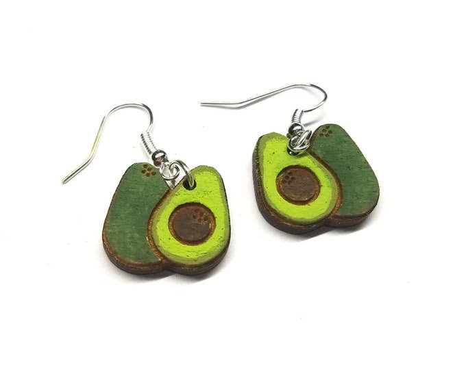 Painted Avocado Dangle Earrings | Laser Cut Jewelry | Hypoallergenic Hook Dangle Earrings | Wood Earrings