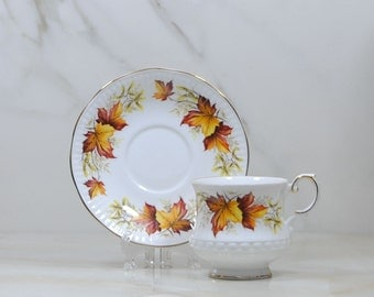 Vintage Rosina Queens Fine Bone China, MAPLE LEAF Teacup and Saucer