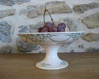 Antique French Criel et Montereau compote dish or cake stand in green transferware - Service Napoleon