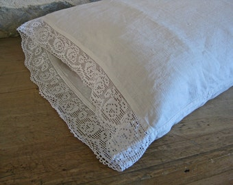 linen bolster pillowcase with deep lace edging and monogram HT - rustic French country style