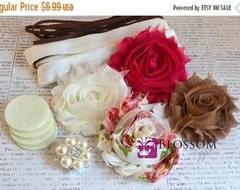 HOLIDAY SALE DIY Headband Making Kit - Spring Floral Collection - Chiffon Frayed Flowers - Shabby Rose Trim - Flower Headbands - Pink Ivory