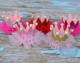 Glitter Pearl Ruffle Tulle Crowns - DIY Birthday Tiara Crown Headband Clip Hat - Wholesale Craft Supplies - 1st Birthday Bow - Gold Silver