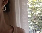 ON SALE Geo circle earrings - Dangle open circle earrings - Disc earrings - Button earrings