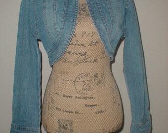 Vega Jeans Cropped Jacket Size Small *Bolero*Shrug* Cross On Back!