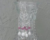 Reserved for Jennifer,  custom made to order sterling silver chandelier earrings with natural Rubies,  and freshwater pearls,  free shipping