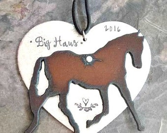 Personalized Horse Ornament-Hand Stamped Horse Ornament-Star Ornament-Horse Lover Christmas Gift