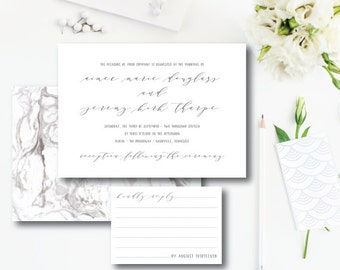 Modern Marble | Wedding Invitations | Marble Suite | Printed by Darby Cards Collective