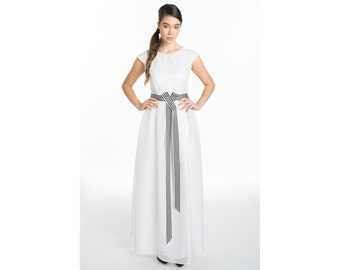 Cord Dress - long dress with waistband, made of embroidered sheer organza - bridal dress