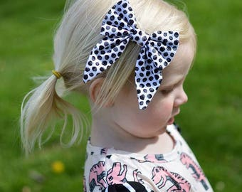 Black and white polka dot sailor bow, bow, hair bow, hair clip