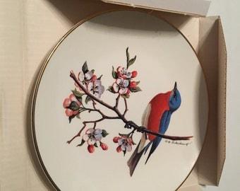 avon bluebird north american songbird plate in original box