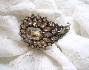 Gorgeous Champagne Rhinestone Brooch Cuff Bracelet Antique Brass Refashioned Bridal Wedding Cuff  Bride Bridesmaid Mother of Bride