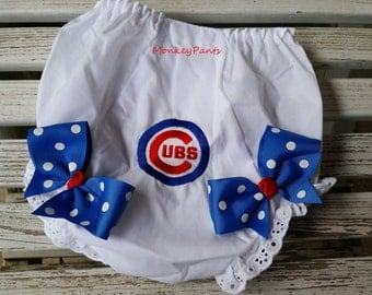 Chicago Cubs Baby - Cubs Inspired Girl's Baseball Diaper Cover - MLB Chicago Cubs Bloomers - Baby Gift