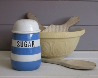 T.G. Green Cornish Kitchen Ware~Sugar Shaker~Blue and White Stripe~Retro Kitchen