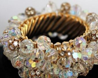 Vintage 1960's AB Crystal Rhinestone Dangles Go-Go Goldtone Bracelet