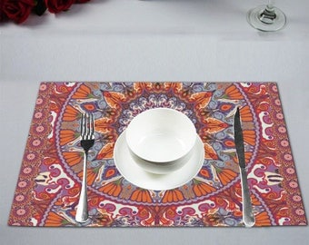 Placemat 12'' x 18''- set of 2, 4 and 6- linen-home decor--table decor-handpainted picture printed on linen.custom possible.