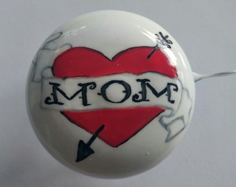 Mom heart bicycle bell banner arrow bike bell hand painted original art unique biker gift bicycle accessories flash art