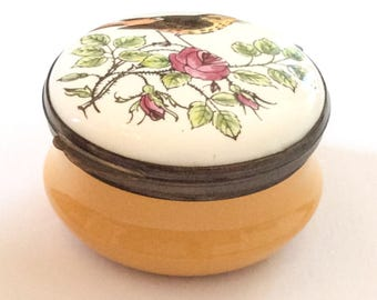 Porcelain Deep Yellow Trinket Box, Hand Painted, Songbird, Rose, Crummles English Vintage SPRING SALE