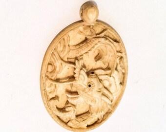 Dragon Pendant, Ox Bone Vintage Jewelry SPRING SALE