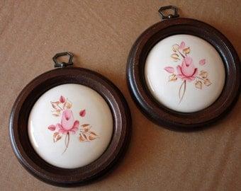 Vintage Set of 2 Ceramic Pictures on Wood, Pink Roses, Flowers