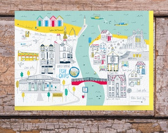 Whitby Greeting Card. Whitby map illustration. Whitby, North Yorkshire.