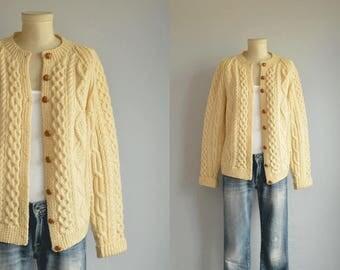 Vintage 70s Irish Wool Fisherman Cardigan / 1970s Hand Knit Vanilla Cream Cable Sweater / Made in Ireland