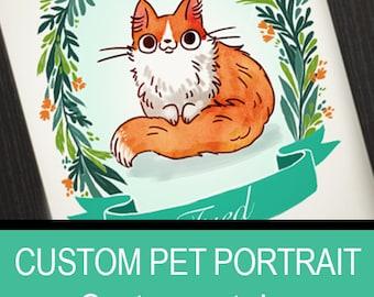 Custom pet portrait: cartoon style, 8.5 by 11, 8 by 10 inch, 5 by 7