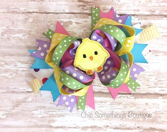 easter bow, easter bunny bow, easter chick bow, first easter chick bow, easter headband, easter hair bow, chickie bow, egg hunt bow