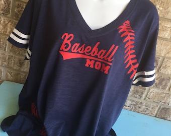 Baseball Laces T-Shirt with baseball mom shirt, Short Sleeve V Neck with stripes on the sleeves, nothing on back