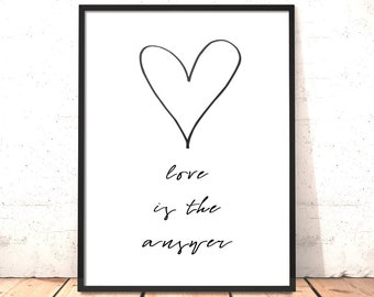 Love Is The Answer Print | Gift for Girlfriend, Boyfriend, Wife, Husband, Partner | Wedding, Anniversary Gift | Gift to Say Sorry