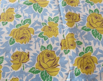 vintage FULL feed sack -- yellow roses floral print fabric
