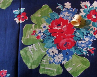 bouquets of flowers on navy print vintage cotton fabric -- 35 wide by the yard