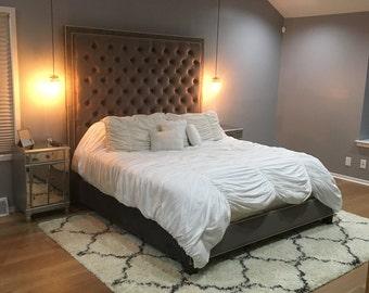 Velvet Diamond Tufted Headboard and Upholstered Bed Frame Set- King size, Extra Tall