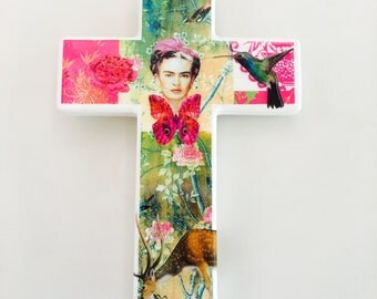 SOLD Frida Kahlo Pink Green Wall Cross 2