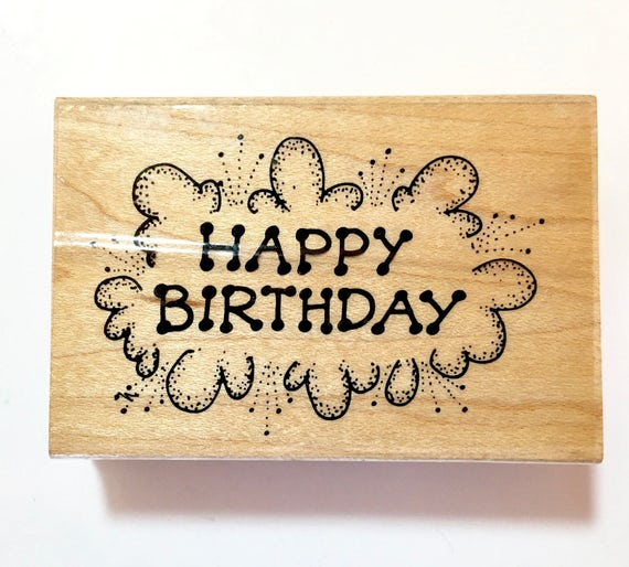 Rubber stamp happy birthday stamp papercraft for Rubber stamps arts and crafts