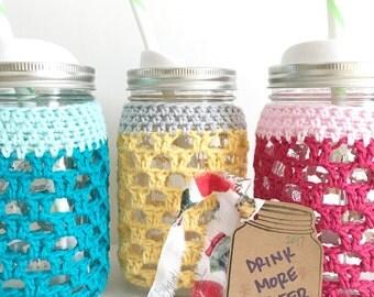 ONE Crocheted Quart- Sized Mason Jar Cosy in Colorful Cotton Yarn