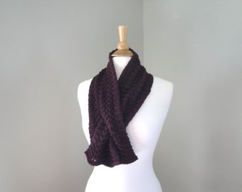Pull Through Keyhole Scarf, Wine Purple, Merino & Cashmere, Hand Knit Neck Scarf Scarflette, Super Soft