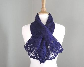 Keyhole Scarf with Lace Edges, Pull Through Scarf, Crochet Neck Warmer, Bright Purple, Merino Wool & Silk, Chic Fashion