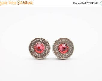 30% OFF SALE Bullet Earrings . 357 Magnum Nickel Plated Brass . Indian Pink