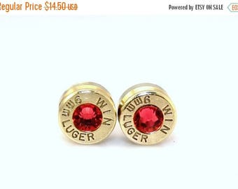 30% OFF SALE Bullet Earrings. Indian Pink  . 9mm Luger.