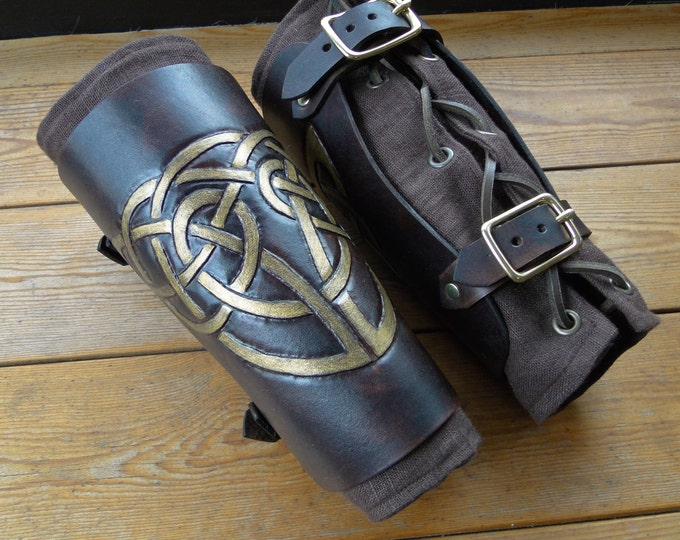 Celtic Knot Leather Bracers - Arm Guards, Medieval, Renaissance, Dark Brown W/ Antique Gold