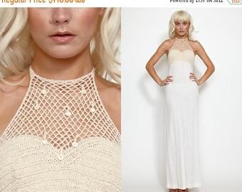 50% OFF ENTIRE STORE Vintage Guaze 60s 70s Crochet Maxi Open Back Maxi Dress // Hippie Boho