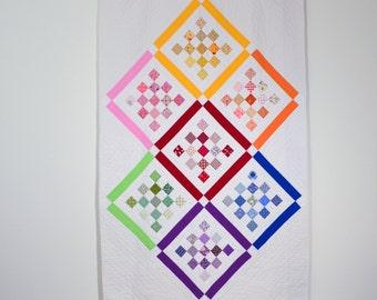 Rainbow Quilt, Geometric Quilt, White Quilt, Rainbow, Modern Quilt