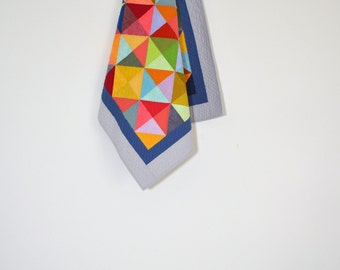 Modern Baby Quilt, Baby Quilt, Geometric Baby Bedding, Quilted Wall Hanging, Bright Crib Quilt