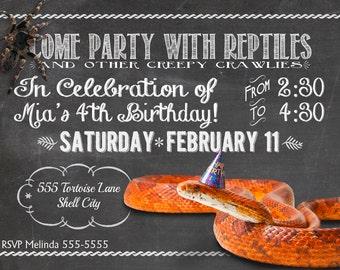 "Reptile Party Birthday Invitation, Printable, 5x7"""