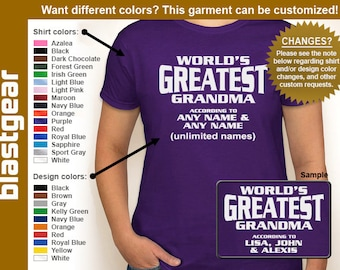World's Greatest Grandma (or any text) Custom Names womens T-shirt — Any color/Any size - Adult S, M, L, XL, 2XL, 3XL