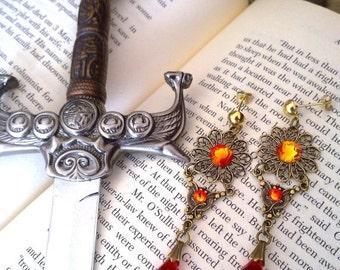 20% OFF Gothic Earrings Swarovski Fire Opal Crystal Earrings Filigree Earrings Medieval Gothic Jewelry -  Aflamed Valkyrie Earrings