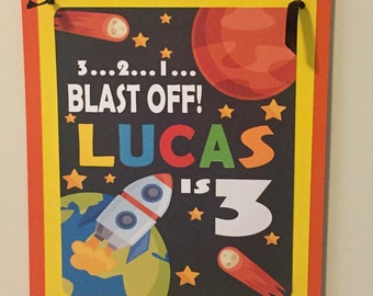 OUTER SPACE Happy Birthday or Baby Shower Door or Welcome Sign - Party Packs Available